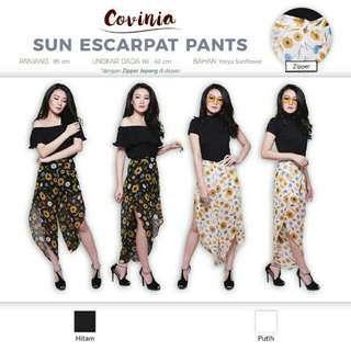 Sun escarpat pants side slit motif bunga