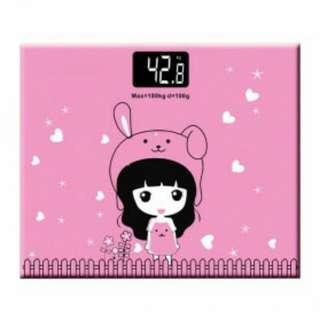 Timbangan Badan Mini Digital Desain Kartun 180Kg - Taffware SC-01/SC-02 - Pink