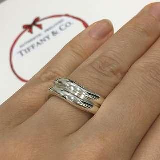 Excellent Authentic Tiffany & Co. Elsa Peretti Doppio Double Curved Silver Ring #4.5