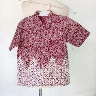 (20rb) Top batik maroon, bhn cotton NEW, LD64, pjg46cm