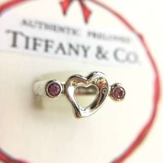 Authentic Tiffany & Co. Elsa Peretti Open Heart 2 Pink Sapphire Silver Ring Size 4