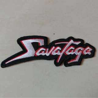 Savatage - Red and White Logo Shaped Woven Patch Band Merch