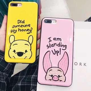 手機殼IPhone6/7/8/plus/X - Winniethepooh維尼熊小豬剌繡軟殼