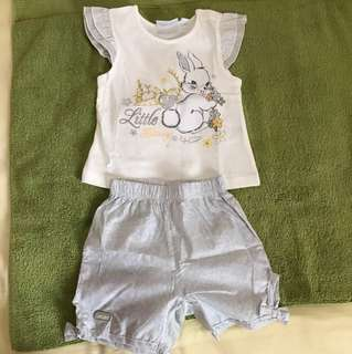 Cute bunny top and shorts set (3m, girl)