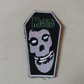 Misfits - Fiend Skull Coffin Shaped Woven Patch Band Merch