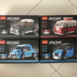 Decool pullback toy car set, similar to lego
