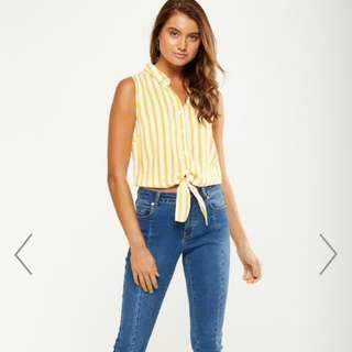 Cotton On Belle Sleeveless Yellow Stripes Shirt
