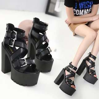 Size 34-39 Peep Toes Gladiators Chunky Extremely High Heels