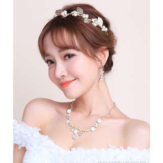 Wedding Collection - Korean Style Design Vintage Bride Jewelry Set (Necklace, Earrings & Hair Crown)