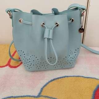 新款ans粉綠色通花水桶袋索繩袋