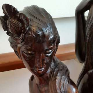 "1970s Ebony Sculpture of ""Water Ladies & Mermaid"""
