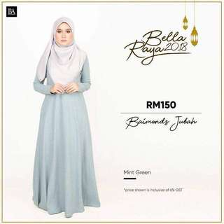 🌸Bella Ammara OPEN ORDER: BAIMOND JUBAH NEW COLORS $56  Collection on Sunday 11 March mailing out on Monday 12 March LIMITED STOCKS🌸 Mint Green