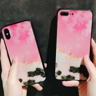 手機殼IPhone6/7/8/plus/X : 簡約日本粉色大海玻璃背板