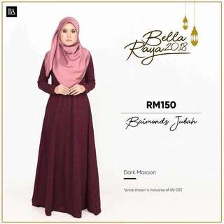 🌸Bella Ammara OPEN ORDER: BAIMOND JUBAH NEW COLORS $56  Collection on Sunday 11 March mailing out on Monday 12 March LIMITED STOCKS🌸 Dark Maroon