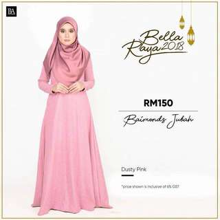 🌸Bella Ammara OPEN ORDER: BAIMOND JUBAH NEW COLORS $56  Collection on Sunday 11 March mailing out on Monday 12 March LIMITED STOCKS🌸 Dusty Pink