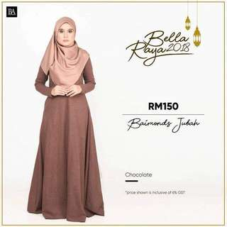 🌸Bella Ammara OPEN ORDER: BAIMOND JUBAH NEW COLORS $56  Collection on Sunday 11 March mailing out on Monday 12 March LIMITED STOCKS🌸 Chocolate