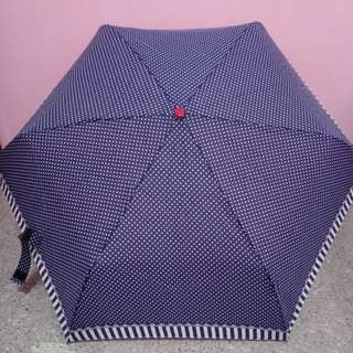 Navy Polka Dot Foldable Umbrella