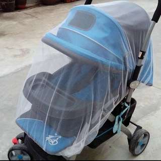 🌈(Ready Stock) 🆕Brand New Anti-Mosquito Baby Stroller Net Cover White - 1 piece