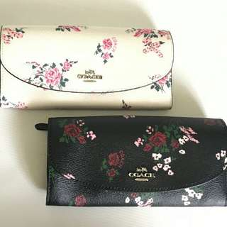 coach #F25932 slim envelope wallet stitch floral sz 19x11