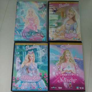 6 Barbie Dvds n vcd Swan Lake Mernaida Rapunzel Mariposa  etc