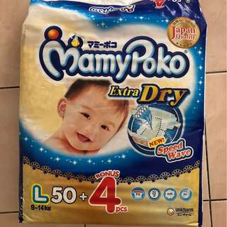 Diaper: Mamypoko Extra Dry L-size 50+4