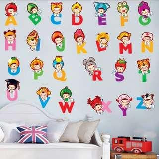 $10= 26 alphabet children wall stickers morning cute little animals kindergarten classroom wall decoration stickers/