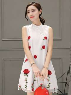 AO/DZC070869 - Charming Rose, Crane Embroidered Cheongsam Dress