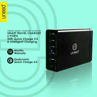 Uneed Smart Travel Charger 6 Port Qualcomm