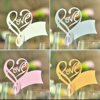 Laser Cut Table Mark Wine Glass Name Place Cards Wedding Birthday Baby Shower Party Favor Supplies