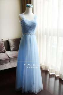 BN Blue Evening Gown Bridesmaid Dress Maxi Dress off shoulder