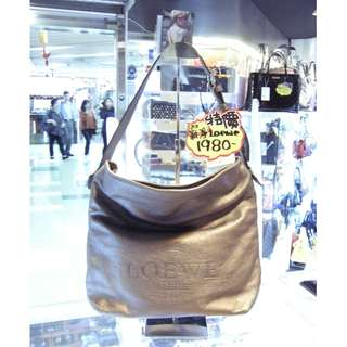 Loewe Logo Silver Gold Leather Shoulder Hand Bag 羅威 銀金色 金屬色 牛皮 皮革 手挽袋 手袋 肩袋 袋