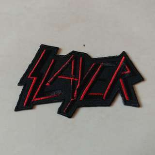 Slayer - Black and Red Logo Shaped Woven Patch Band Merch