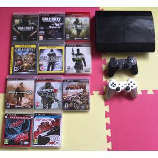 PS3 Console, 2 controllers, 11 games