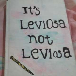 "HOMEMADE water colour splash ""Its LeviOsa not LeviosA"" notebook"