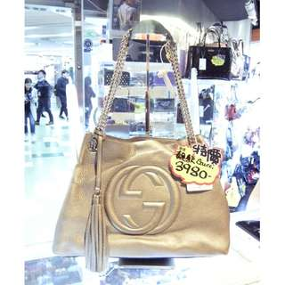 Gucci GG Logo Light Gold Color Leather Disco Chain Shoulder Hand Bag 古馳 淡金色 金屬色 牛皮 皮革 鍊袋 肩袋 手挽袋 手袋 袋