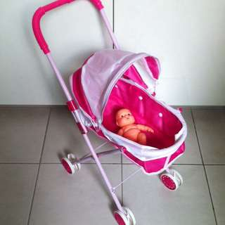 Doll Baby Stroller And Doll Toy