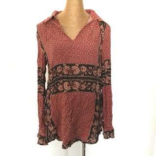 全新民族 圖案恤衫 Brand New Vintage Pattern Red Blouse