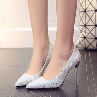 Iridescent Shimmer High Heel Pump Stiletto Shoe; woman women female girl ladies; holographic sharp Tip elegant glitter shiny