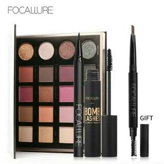 Focallure 4pcs set mascara eyeliner eyeshadow and eyebrow