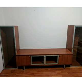 TV Modular Entertainment Unit with Solid Wood & Glass Cabinets