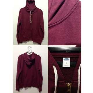Jaket hoodie OLD NAVY mens lightweight zip maroon, size L