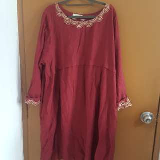Maroon linen Dress
