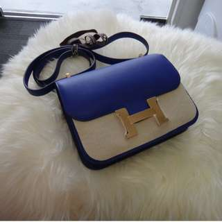BNIB Hermes Constance 18cm Blue Electric Swift Leather Gold Hardware