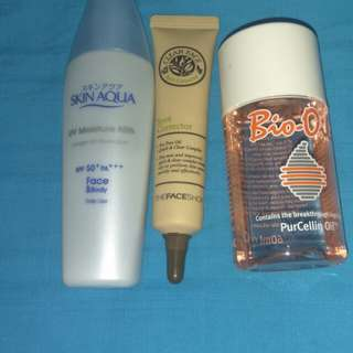 skin aqua, bio oil, skinfood corector