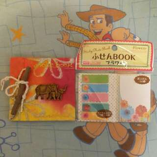 Notebook and sticky notes