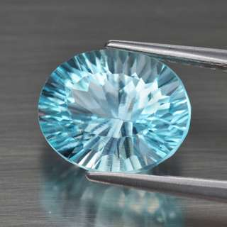 3.23ct Oval Concave Natural Sky Blue Topaz