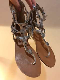 ASH zipped-up sandals in silver (sz. 37)