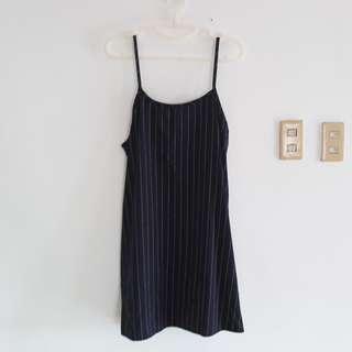 Navy Blue Stripped White Spaghetti Strap Slip Dress
