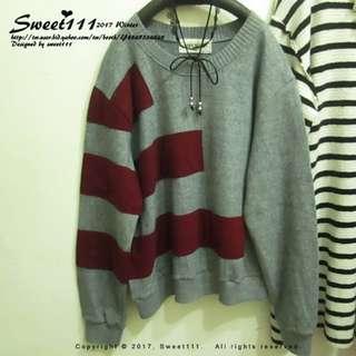 全新轉賣-Sweet111韓國甜心【正韓貨/正韓製】-不對稱撞色條紋圖樣刷毛絨質感長袖毛衣/長袖針織上衣