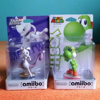 Nintendo Amiibo Pokemon Super Smash Bros. Mewtwo / Super Mario Bros. Yoshi Figure Wii U 3DS